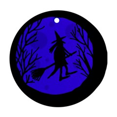 Halloween witch - blue moon Round Ornament (Two Sides)