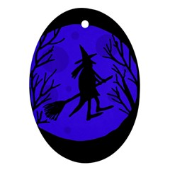 Halloween witch - blue moon Oval Ornament (Two Sides)