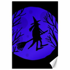 Halloween witch - blue moon Canvas 12  x 18