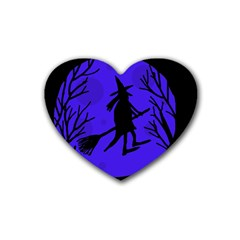 Halloween witch - blue moon Rubber Coaster (Heart)