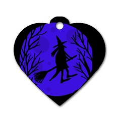 Halloween witch - blue moon Dog Tag Heart (Two Sides)