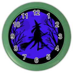 Halloween witch - blue moon Color Wall Clocks