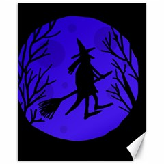 Halloween witch - blue moon Canvas 11  x 14
