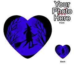Halloween witch - blue moon Multi-purpose Cards (Heart)