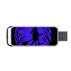 Halloween witch - blue moon Portable USB Flash (One Side)