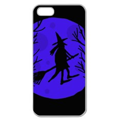 Halloween witch - blue moon Apple Seamless iPhone 5 Case (Clear)