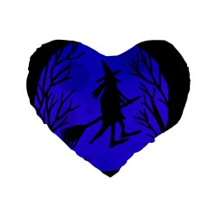 Halloween witch - blue moon Standard 16  Premium Heart Shape Cushions