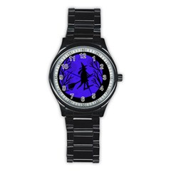 Halloween witch - blue moon Stainless Steel Round Watch
