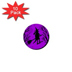 Halloween witch - Purple moon 1  Mini Buttons (10 pack)
