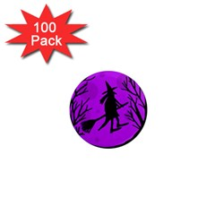 Halloween witch - Purple moon 1  Mini Magnets (100 pack)