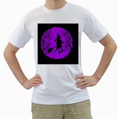 Halloween witch - Purple moon Men s T-Shirt (White) (Two Sided)