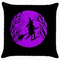 Halloween witch - Purple moon Throw Pillow Case (Black)