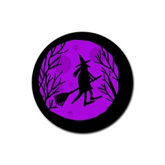 Halloween witch - Purple moon Rubber Round Coaster (4 pack)