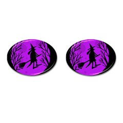 Halloween witch - Purple moon Cufflinks (Oval)