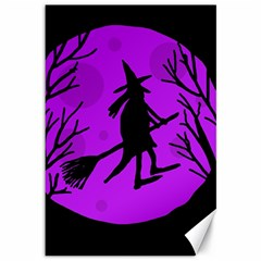 Halloween witch - Purple moon Canvas 12  x 18