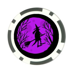 Halloween witch - Purple moon Poker Chip Card Guards
