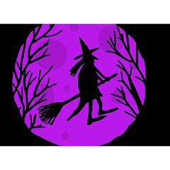 Halloween witch - Purple moon Birthday Cake 3D Greeting Card (7x5)