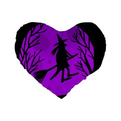 Halloween witch - Purple moon Standard 16  Premium Heart Shape Cushions