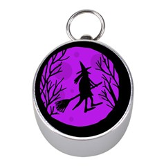 Halloween witch - Purple moon Mini Silver Compasses