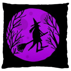 Halloween witch - Purple moon Large Flano Cushion Case (Two Sides)
