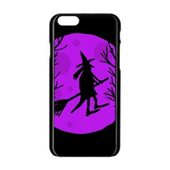 Halloween witch - Purple moon Apple iPhone 6/6S Black Enamel Case