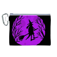 Halloween witch - Purple moon Canvas Cosmetic Bag (L)