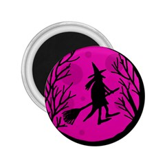 Halloween witch - pink moon 2.25  Magnets