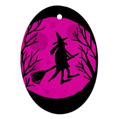 Halloween witch - pink moon Ornament (Oval)