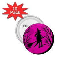 Halloween witch - pink moon 1.75  Buttons (10 pack)