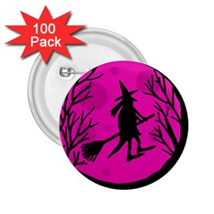 Halloween witch - pink moon 2.25  Buttons (100 pack)