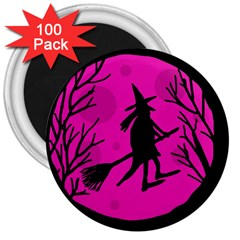 Halloween witch - pink moon 3  Magnets (100 pack)