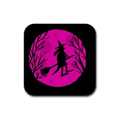 Halloween witch - pink moon Rubber Coaster (Square)