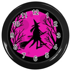 Halloween witch - pink moon Wall Clocks (Black)
