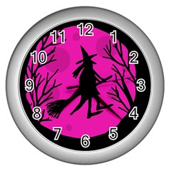 Halloween witch - pink moon Wall Clocks (Silver)