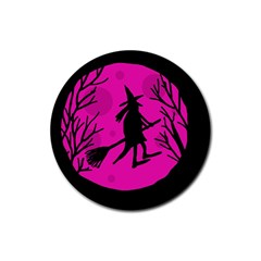 Halloween witch - pink moon Rubber Coaster (Round)