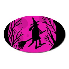 Halloween witch - pink moon Oval Magnet