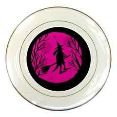 Halloween witch - pink moon Porcelain Plates