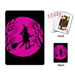 Halloween witch - pink moon Playing Card