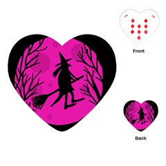 Halloween witch - pink moon Playing Cards (Heart)