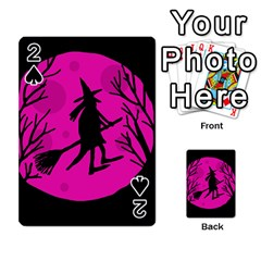 Halloween witch - pink moon Playing Cards 54 Designs