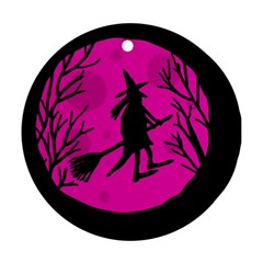 Halloween witch - pink moon Round Ornament (Two Sides)