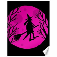 Halloween witch - pink moon Canvas 18  x 24