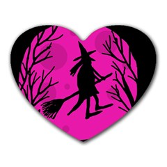 Halloween witch - pink moon Heart Mousepads