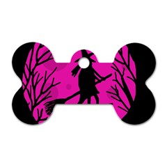 Halloween witch - pink moon Dog Tag Bone (Two Sides)