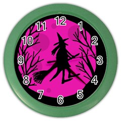 Halloween witch - pink moon Color Wall Clocks