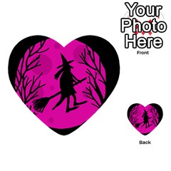 Halloween witch - pink moon Multi-purpose Cards (Heart)