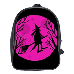 Halloween witch - pink moon School Bags(Large)