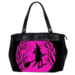 Halloween witch - pink moon Office Handbags (2 Sides)