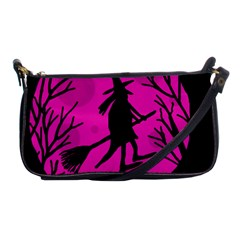 Halloween witch - pink moon Shoulder Clutch Bags