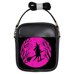 Halloween witch - pink moon Girls Sling Bags